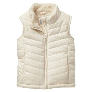 Gap Toddler Girls Sherpa Lined Puffer Vest Ivory